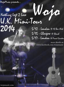 Flyer for Wojo's U.K. Mini-Tour 2014